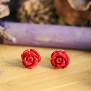 Jewelry - 925 Sterling silver flower stud red earrings 8 mm